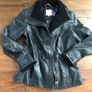Ted Baker Sew n Love Shearling Collar/Cuff Leather